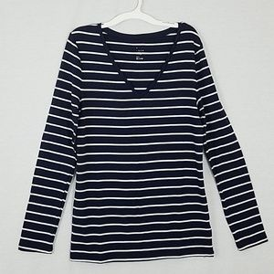 Striped Fitted Long Sleeve T-Shirt